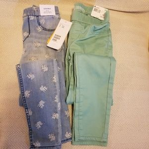 2 pair New w Tags Girls Jeggings